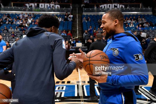 Hamidou Diallo of the Oklahoma City Thunder and Isaiah Briscoe of the Orlando Magic talk before the game on January 29 2019 at Amway Center in...