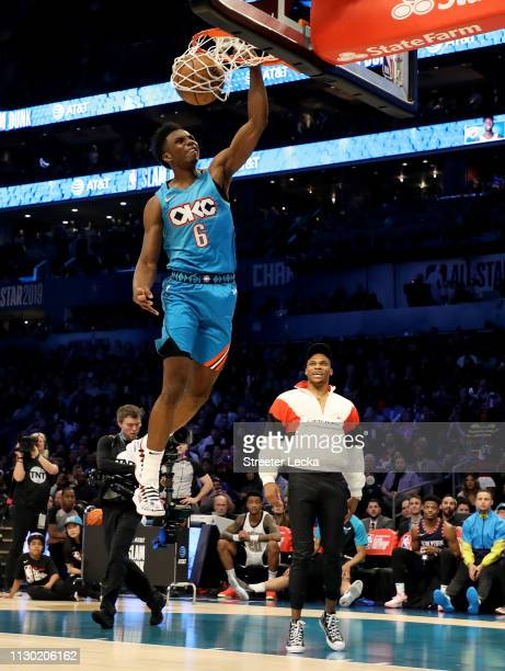 Hamidou Diallo of the Oklahoma City Thunder dunks during the ATT Slam Dunk as part of the 2019 NBA AllStar Weekend at Spectrum Center on February 16...