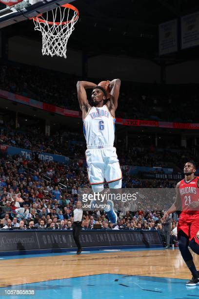 Hamidou Diallo of the Oklahoma City Thunder dunks the ball against the New Orleans Pelicans on November 5 2018 at Chesapeake Energy Arena in Oklahoma...