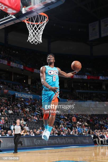 Hamidou Diallo of the Oklahoma City Thunder dunks the ball against the New York Knicks on November 14 2018 at Chesapeake Energy Arena in Oklahoma...