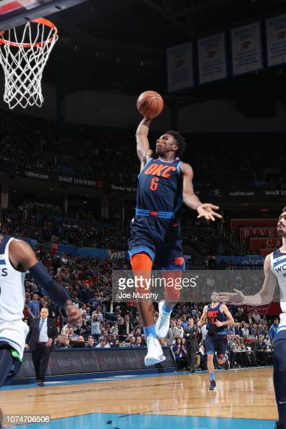 Hamidou Diallo of the Oklahoma City Thunder dunks the ball against the Minnesota Timberwolves on December 23 2018 at Chesapeake Energy Arena in...