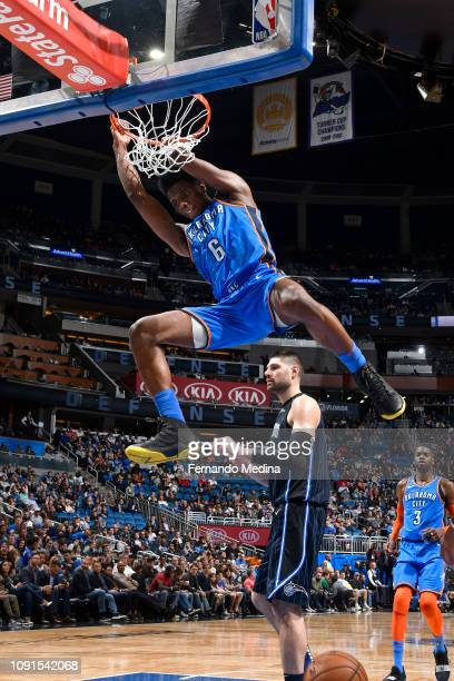 Hamidou Diallo of the Oklahoma City Thunder dunks the ball against the Orlando Magic on January 29 2019 at Amway Center in Orlando Florida NOTE TO...