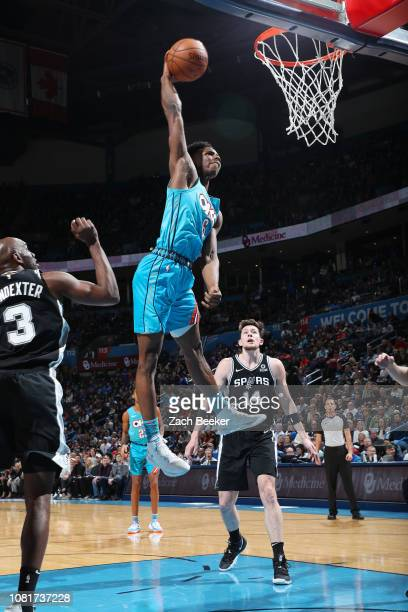 Hamidou Diallo of the Oklahoma City Thunder dunks the ball during the game against the San Antonio Spurs on January 12 2019 at Chesapeake Energy...