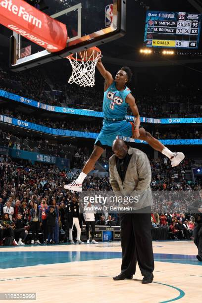 Hamidou Diallo of the Oklahoma City Thunder dunks the ball during the 2019 ATT Slam Dunk Contest as part of the State Farm AllStar Saturday Night on...