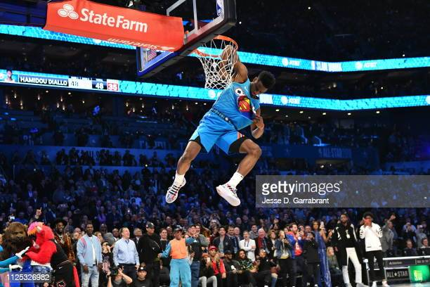 Hamidou Diallo of the Oklahoma City Thunder dunks the ball during the 2019 AT&T Slam Dunk Contest during the 2019 AT&T Slam Dunk Contest as part of...