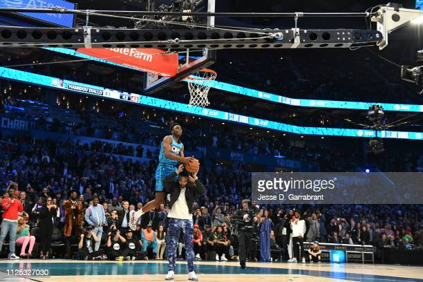 Hamidou Diallo of the Oklahoma City Thunder dunks the ball during the 2019 ATT Slam Dunk Contest during the 2019 ATT Slam Dunk Contest as part of the...