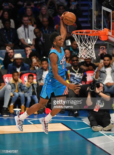 Hamidou Diallo of the Oklahoma City Thunder dunks the ball during the 2019 AT&T Slam Dunk Contest as part of the State Farm All-Star Saturday Night...