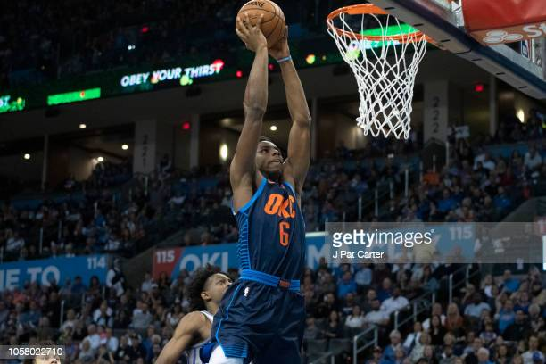 Hamidou Diallo of the Oklahoma City Thunder dunks two points against the Sacramento Kings during the first half of a NBA game at the Chesapeake...