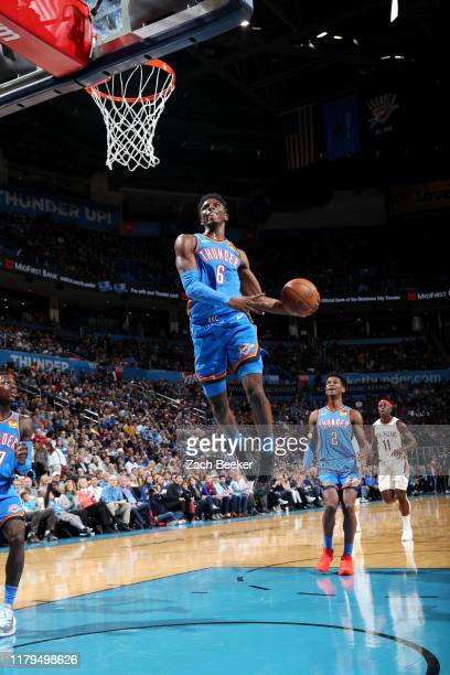 Hamidou Diallo of the Oklahoma City Thunder goes up for a dunk during the game against the New Orleans Pelicans on November 2 2019 at Chesapeake...