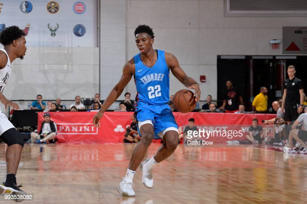 Hamidou Diallo of the Oklahoma City Thunder handles the ball against the Brooklyn Nets during the 2018 Las Vegas Summer League on July 7 2018 at the...