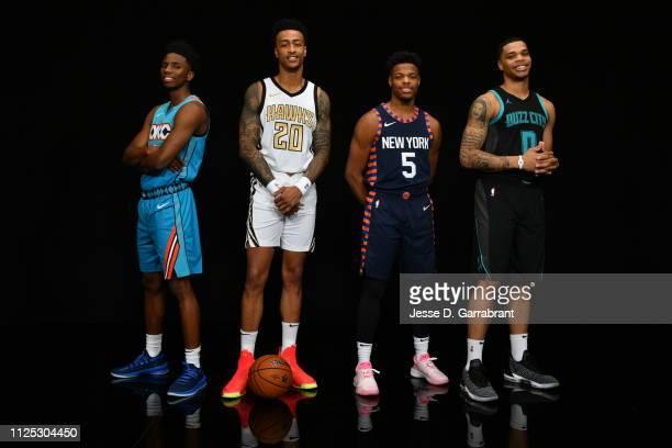 Hamidou Diallo of the Oklahoma City Thunder John Collins of the Atlanta Hawks Dennis Smith Jr #5 of the New York Knicks and Miles Bridges of the...