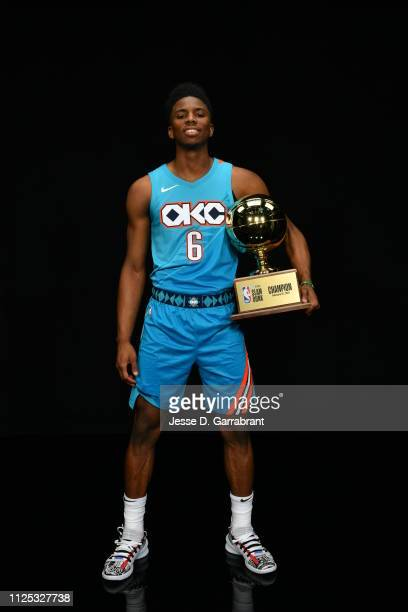 Hamidou Diallo of the Oklahoma City Thunder poses with the Champion trophy after winning the 2019 AT&T Slam Dunk Contest as part of the State Farm...