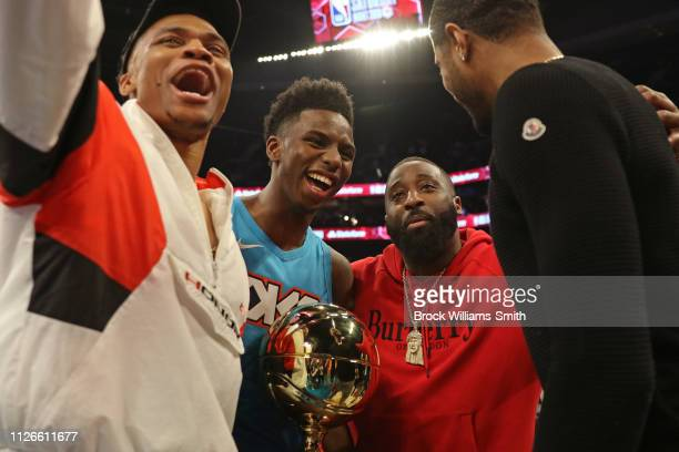 Hamidou Diallo of the Oklahoma City Thunder poses with the Championship trophy after winning the 2019 AT&T Slam Dunk Contest as part of the State...