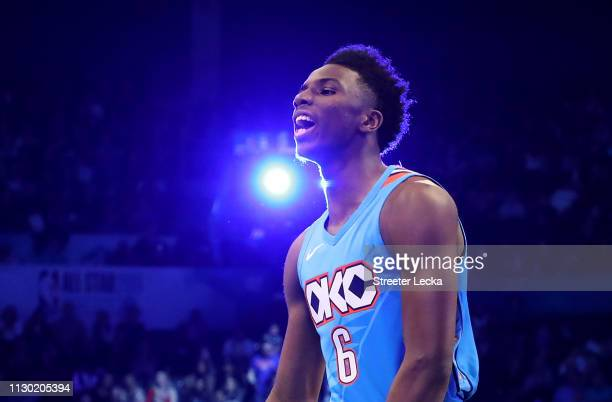 Hamidou Diallo of the Oklahoma City Thunder reacts after a dunk at the ATT Slam Dunk as part of the 2019 NBA AllStar Weekend at Spectrum Center on...