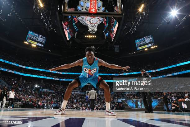 Hamidou Diallo of the Oklahoma City Thunder reacts during the 2019 ATT Slam Dunk Contest as part of the State Farm AllStar Saturday Night on February...