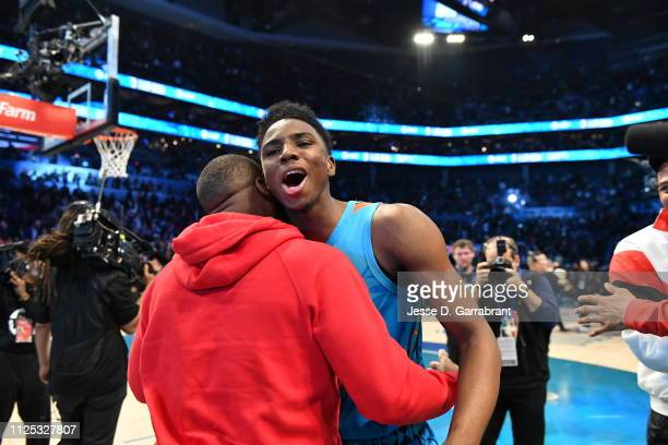 Hamidou Diallo of the Oklahoma City Thunder reacts during the 2019 AT&T Slam Dunk Contest as part of the State Farm All-Star Saturday Night on...
