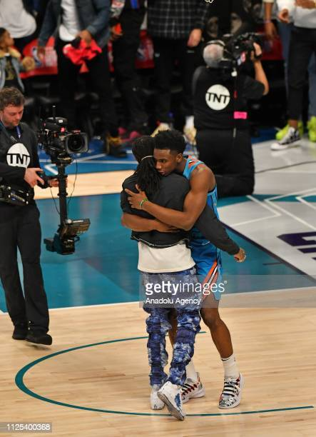 Hamidou Diallo of the Oklahoma City Thunder reacts during the 2019 AT&T Slam Dunk Contest as part of the State Farm All-Star Saturday Night at...