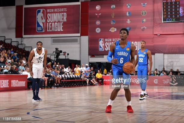 Hamidou Diallo of the Oklahoma City Thunder shoots a free throw against the Utah Jazz on July 6, 2019 at the Cox Pavilion in Las Vegas, Nevada. NOTE...