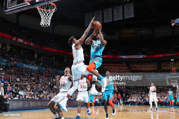 Hamidou Diallo of the Oklahoma City Thunder shoots the ball against the New York Knicks on November 14 2018 at Chesapeake Energy Arena in Oklahoma...