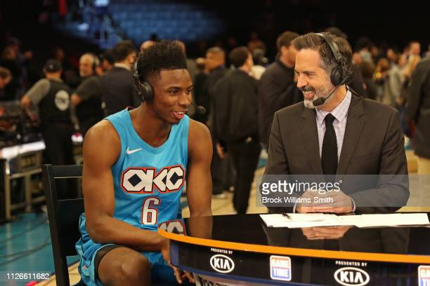 Hamidou Diallo of the Oklahoma City Thunder speaks with the media after winning the 2019 AT&T Slam Dunk Contest as part of the State Farm All-Star...