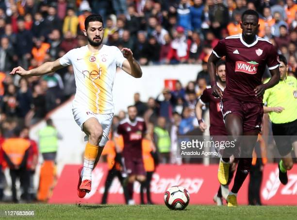 Hamidou Maiga of Hatayspor in action against Emre Akbaba of Galatasaray during the Ziraat Turkish Cup quarter final return match between Hatayspor...