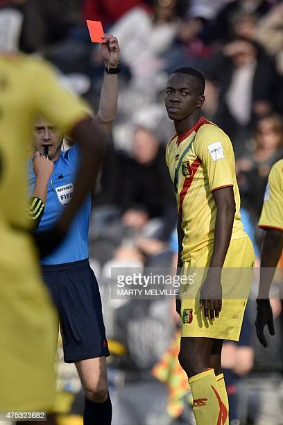 Hamidou Maiga of Mali receives a red card during the FIFA Under20 World Cup football match between Mexico and Mali in Dunedin on May 31 2015 AFP...