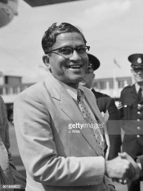 Hamidul Huq Choudhury the Foreign Minister of Pakistan arrives at London Airport for the Suez Canal Conference the next day 15th August 1956