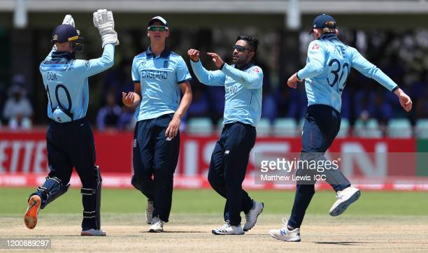 Hamidullah Qadri of England is congratulated on bowling Matthew Patrick of West Indies for LBW during the ICC U19 Cricket World Cup Group B match...