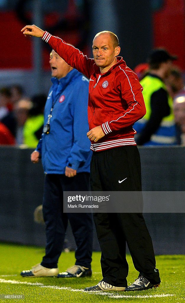 Hamilton Academical manager Alex Neil watches on during the Scottish Premiership Play-off Final First Leg, between Hamilton Academical and Hibernian at New Douglas Park on May 21, 2014 in Hamilton Scotland.