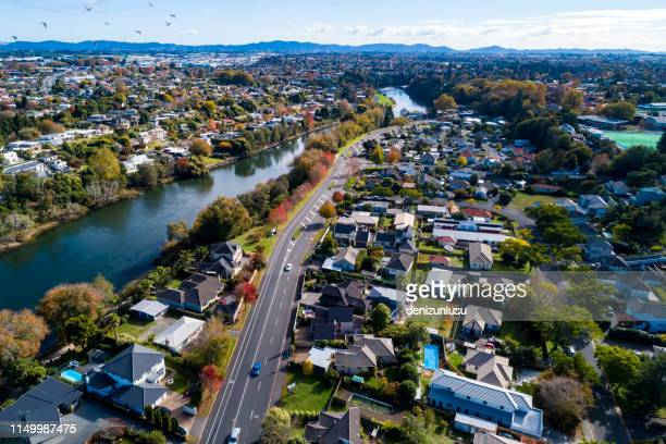 hamilton aerial view - new zealand stock pictures, royalty-free photos & images