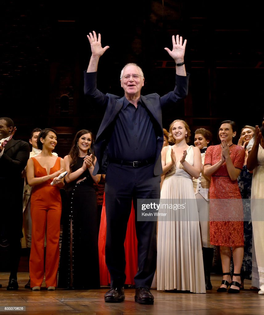 'Hamilton' author Ron Chernow and the cast appear onstage at the opening night curtain call for 'Hamilton' at the Pantages Theatre on August 16, 2017 in Los Angeles, California.
