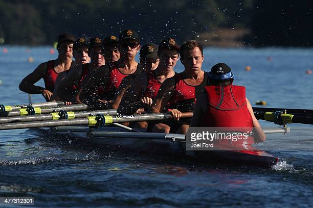Hamilton Boys High School compete in the final of boy's U17 eights during the AON North Island Secondary School Championships at Lake Karapiro on...