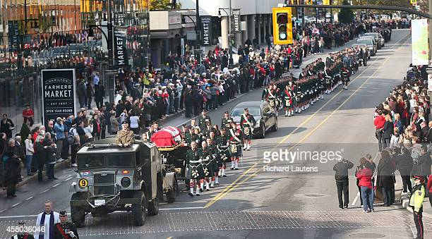 Hamilton Canada October 28 A large crowd lines James street as the casket passes by A full military funeral was held today for Nathan Cirillo He was...