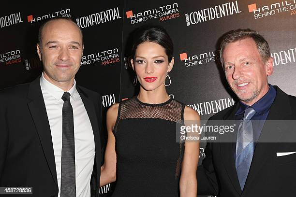 Hamilton CEO Sylvain Dolla actress Sandra Vegara and Los Angeles Confidential EditorinChief Spencer Beck attend The 2014 Hamilton Behind the Camera...