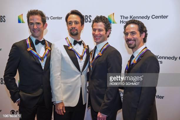Hamilton choreographer Andy Blankenbuehler, composer Lin-Manuel Miranda, director Thomas Kail and music director Alex Lacamoire arrive at the 41st...