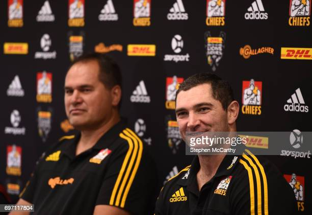 Hamilton New Zealand 18 June 2017 Stephen Donald and Chiefs head coach Dave Rennie left during a press conference in Hamilton New Zealand