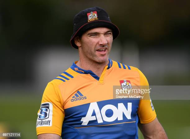 Hamilton New Zealand 18 June 2017 Stephen Donald during a Chiefs training session in Hamilton New Zealand