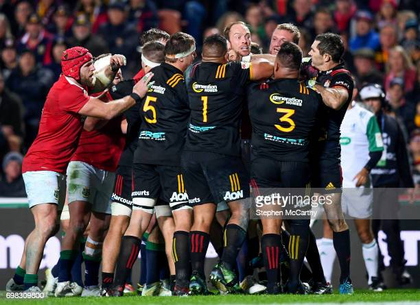 Hamilton New Zealand 20 June 2017 Alun Wyn Jones of the British Irish Lions tussles with Chiefs players during the match between the Chiefs and the...
