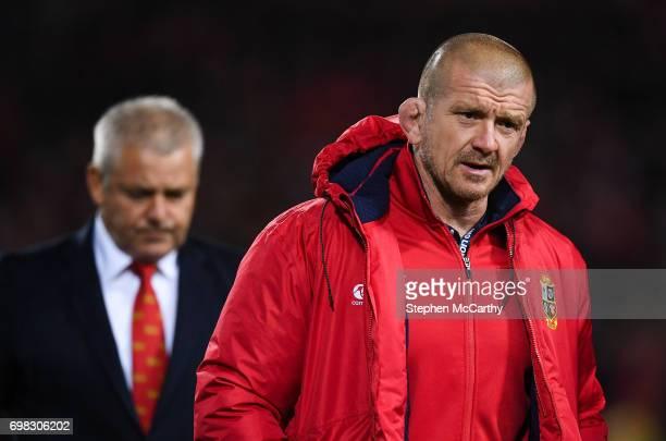 Hamilton , New Zealand - 20 June 2017; British & Irish Lions scrum coach Graham Rowntree, right, and head coach Warren Gatland during the match...