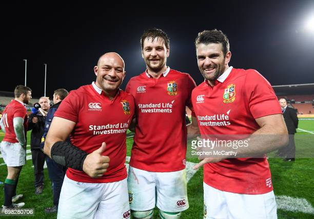 Hamilton New Zealand 20 June 2017 Ulster players representing the British and Irish Lions from left Rory Best Iain Henderson and Jared Payne...