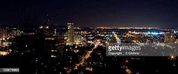 Hamilton, Ontario skyline at night