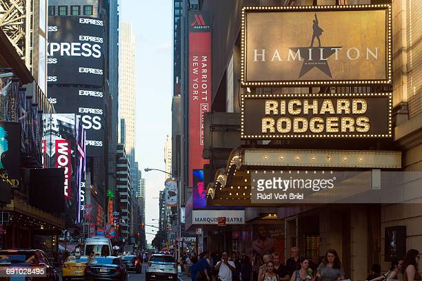 Hamilton play at Richard Rodgers Theater, NYC.