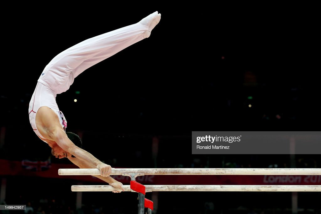 Hamilton Sabot of France competes on the parallel bars during the Artistic Gymnastics Men's Parallel Bars final on Day 11 of the London 2012 Olympic Games at North Greenwich Arena on August 7, 2012 in London, England.