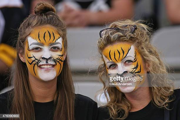Hamilton Tiger-Cats fans get into the spirit prior to play between the Ottawa Redblacks and the Hamilton Tiger-Cats during a pre-season CFL football...