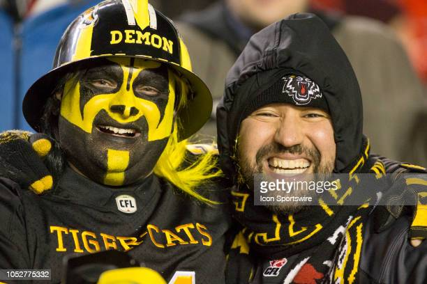 Hamilton Tiger-Cats fans in Canadian Football League action on October 19 at TD Place Stadium in Ottawa, Canada. The Ottawa Redblacks defeated the...