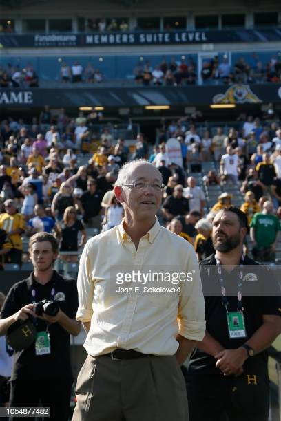 Hamilton TigerCats owner Bob Young prior to the start of a game against the Calgary Stampeders at Tim Hortons Field on September 15 2018 in Hamilton...