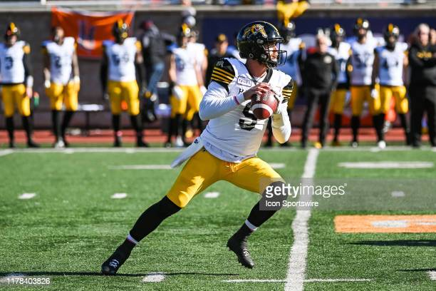 Hamilton TigerCats quarterback Dane Evans gets ready to pass the ball during the Hamilton Tiger Cats versus the Montreal Alouettes game on October 26...