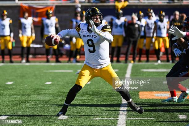 Hamilton Tiger-Cats quarterback Dane Evans passes the ball during the Hamilton Tiger Cats versus the Montreal Alouettes game on October 26 at...
