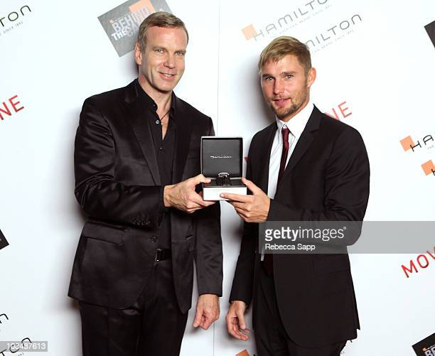 Hamilton Watches worldwide president Matthias Breschan and actor Brian Geraghty pose backstage at the 2009 Hamilton Behind The Camera awards held at...