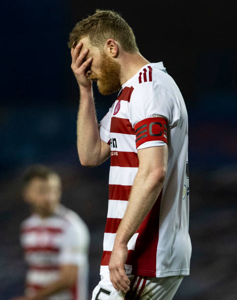 Hamilton's Brian Easton at Full Time during the Scottish Premiership match between Rangers and Hamilton at Ibrox Stadium on November 08 in Glasgow,...